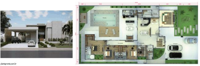 projeto de casa grande com 3 quartos