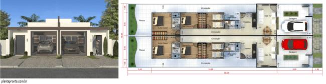 planta de casa geminada com 3 quartos para terreno estreito
