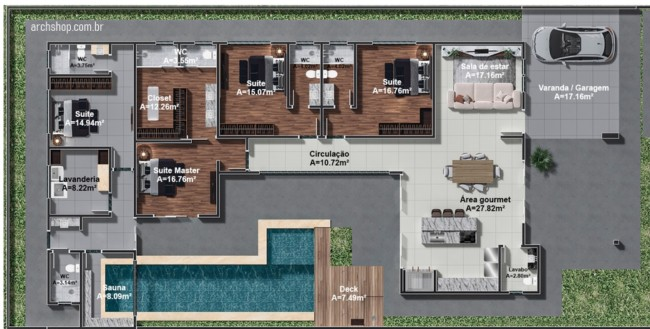 planta de casa grande com 4 suites