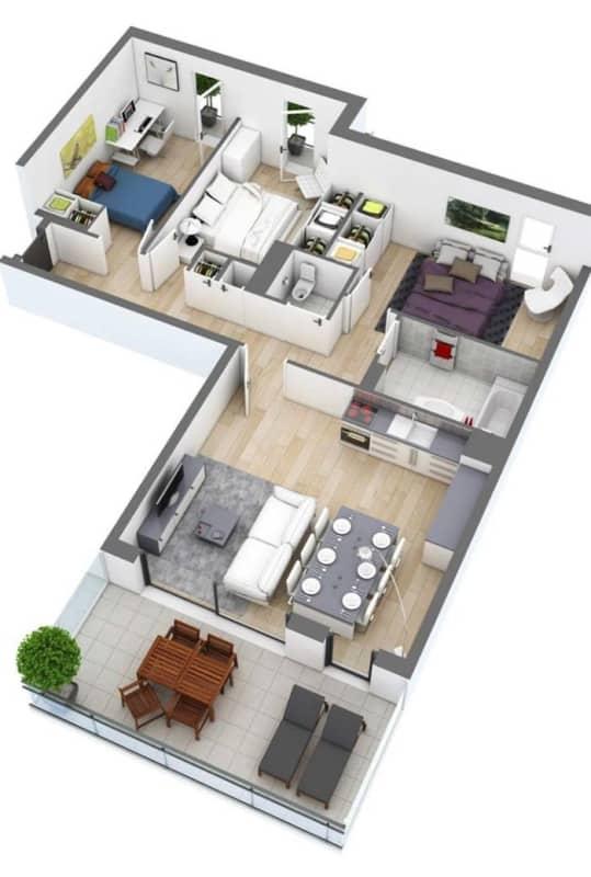 projeto 3D de casa em L com 3 quartos