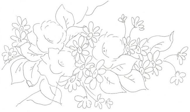 desenho de flores para pintura em tecido