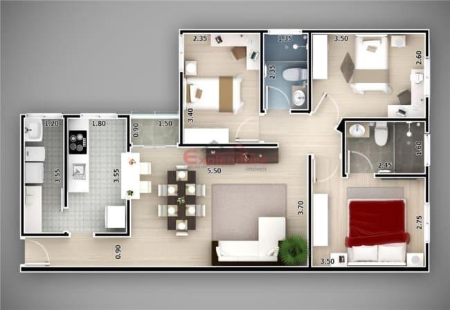 planta de casa em L com 3 dormitorios