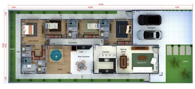 planta de casa grande com 4 quartos