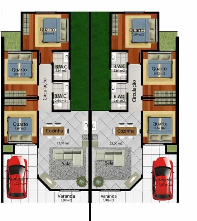 projeto de casa geminada com 3 dormitorios