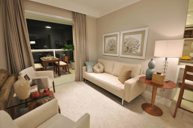 sala clean com decoracao cor areia