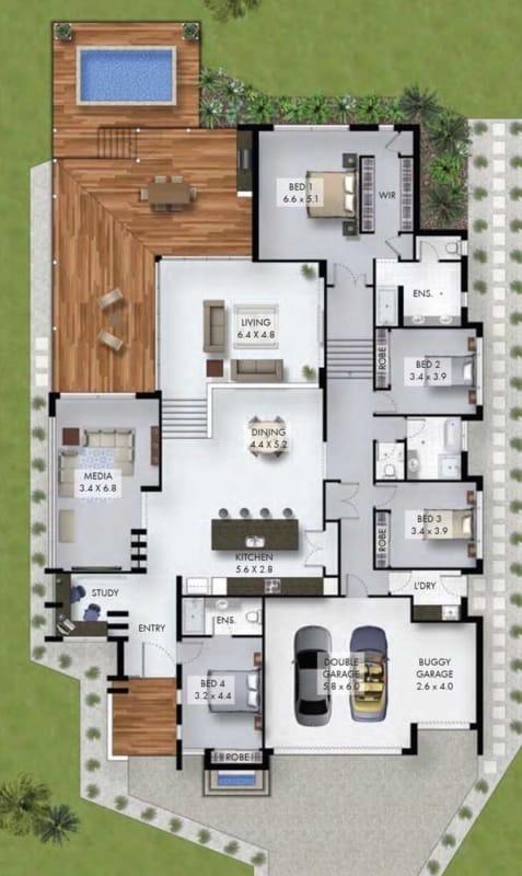 projeto de casa com 4 dormitorios e piscina