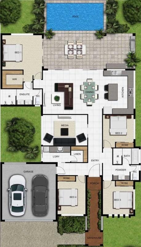 casa terrea com 4 quartos e piscina