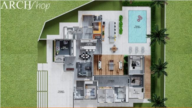 planta com 4 quartos e piscina