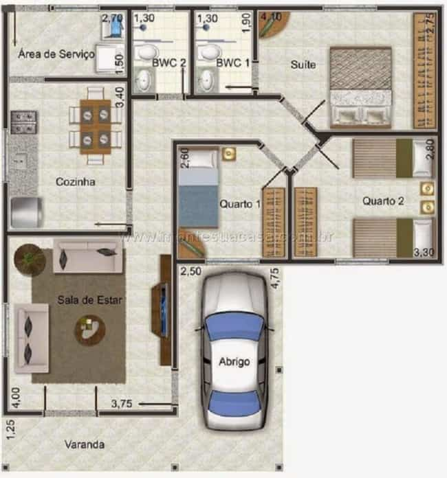 planta de casa com 3 dormitorios e garagem