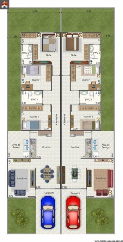 plantas de casa geminada com 3 quartos e garagem