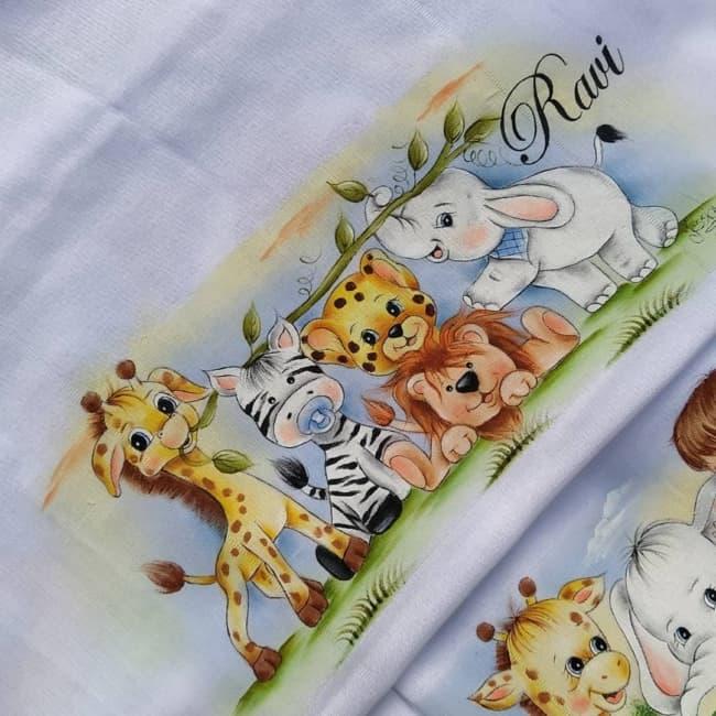 pintura de fralda de bebe com tema safari