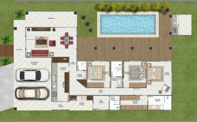 planta de casa em L com 3 quartos e piscina