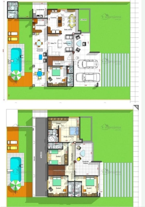 planta de sobrado grande com 5 suites e piscina