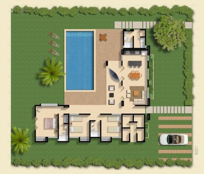 projeto de casa em L com 3 quartos e piscina
