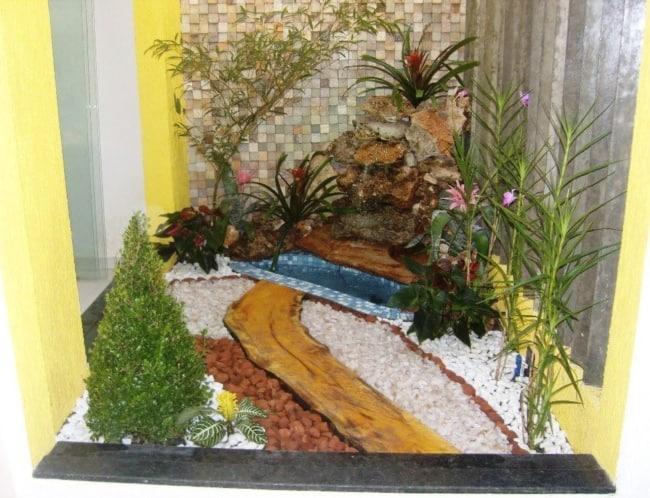 projeto de jardim de inverno pequeno com cascata