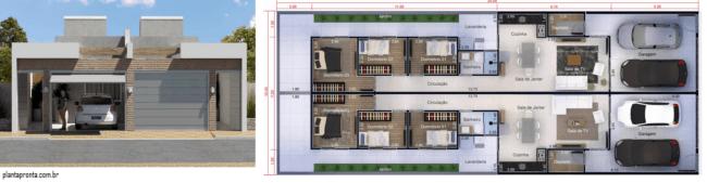 planta de casa geminada moderna com ambientes integrados