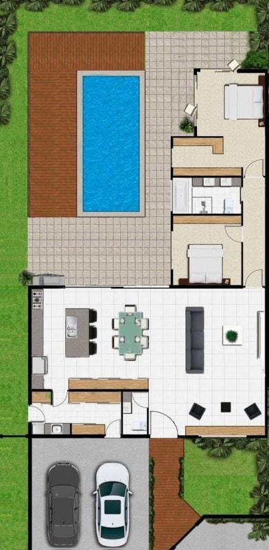 projeto de casa em L com 2 quartos e piscina