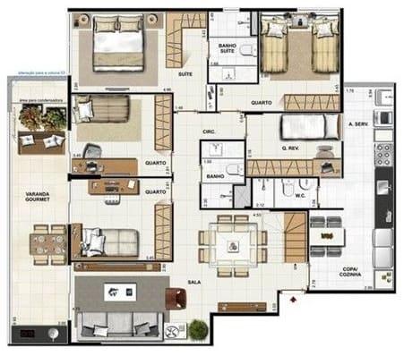 projeto de casa com 5 dormitorios