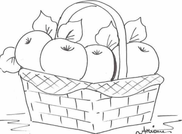 risco de cesta de macas para pintura em pano
