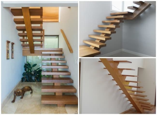 escada espinha de peixe em madeira