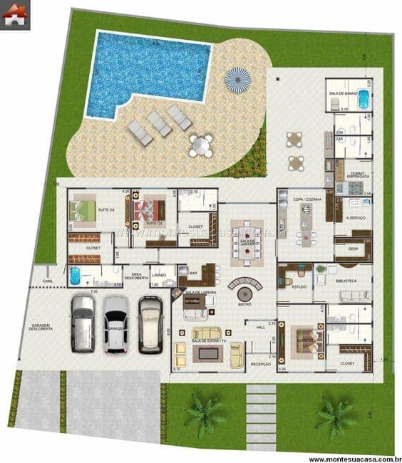 planta de casa grande em L com piscina