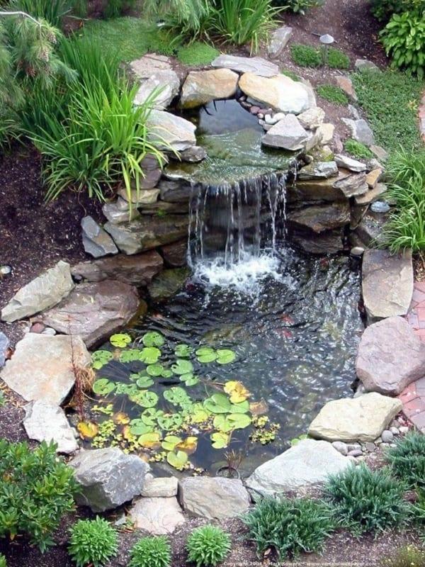 jardim com lago pequeno e cascata