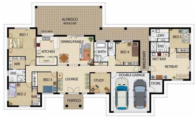 planta de casa com 5 quartos e garagem