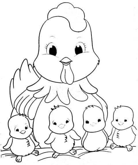 desenho de galinha com pintinhos para pintura em tecido