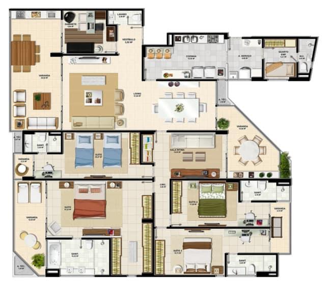projeto de casa com 5 quartos