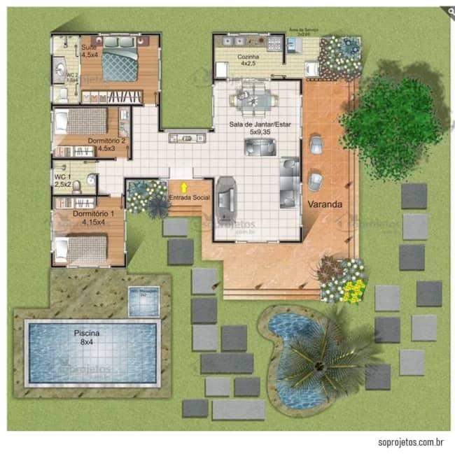planta de casa com 3 quartos e 200 m²