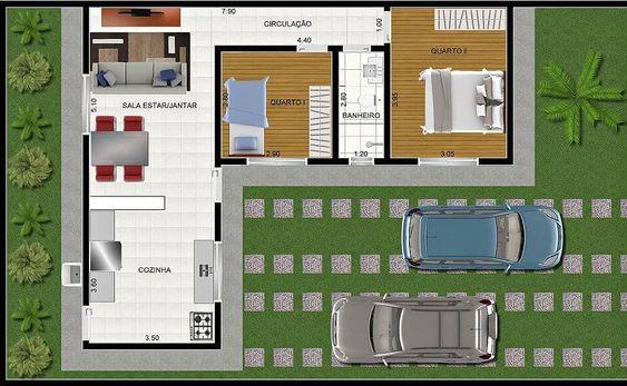 planta de casa em L pequena com 2 quartos