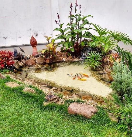jardim pequeno com lago de canto e cascata simples