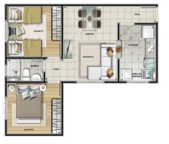 planta de casa em L pequena e com 2 quartos