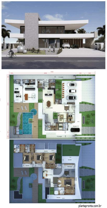 planta de casa grande com 6 quartos