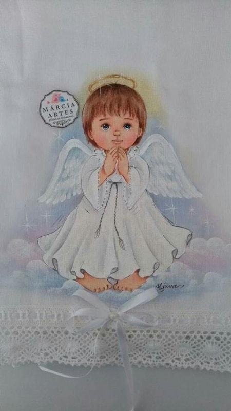 pintura de anjo em fralda de bebe