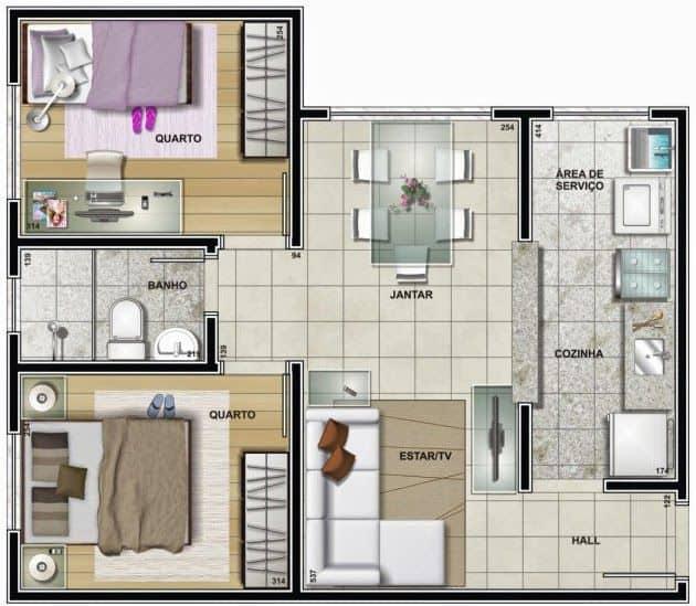 planta de casa simples em L com 2 dormitorios