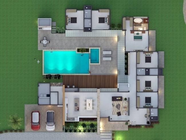 planta de casa terrea com 6 quartos