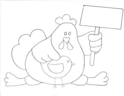 risco de galinha com pintinho para pano de prato