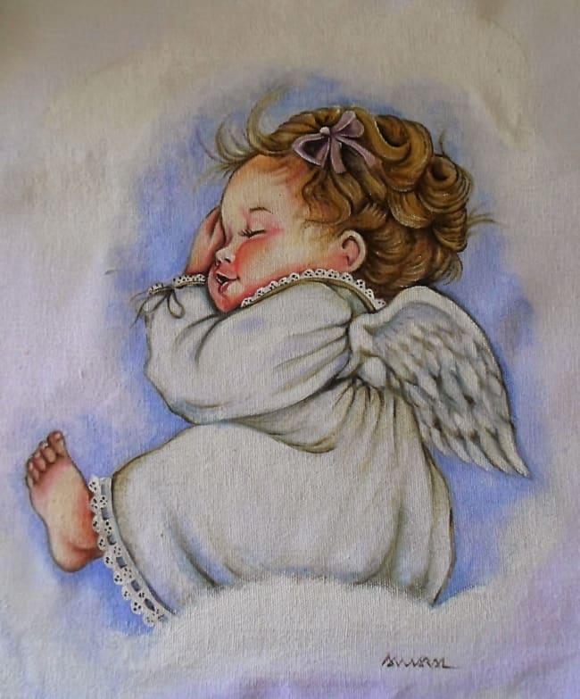 pintura em fralda de bebe com tema anjo