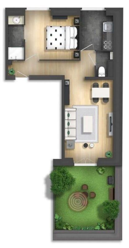 projeto de casa em L com 1 dormitorio