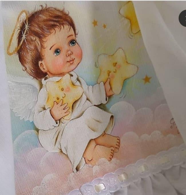 fralda pintada com anjo