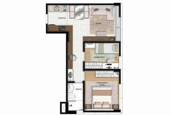 planta de casa em L simples com 2 quartos