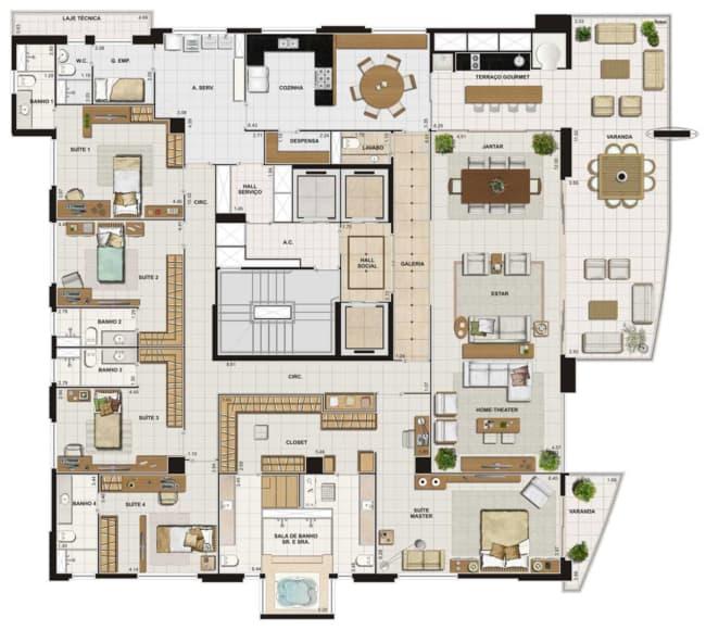 planta de casa grande com 6 dormitorios