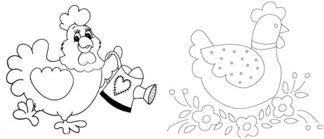 riscos de galinhas para pintar pano de prato