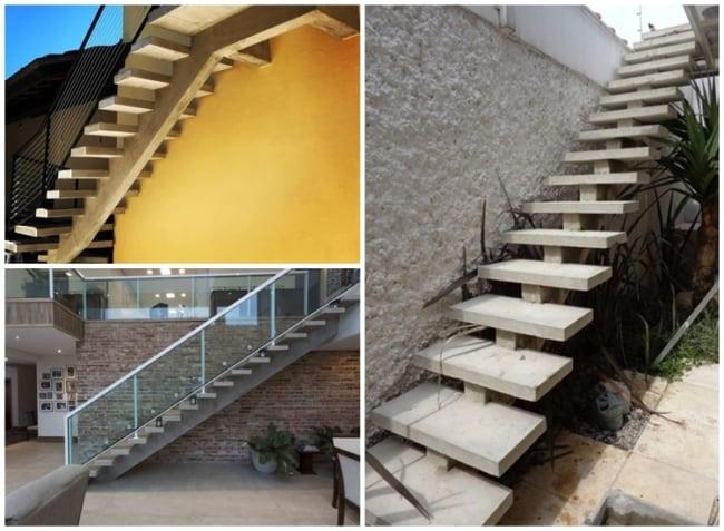 escada espinha de peixe em concreto