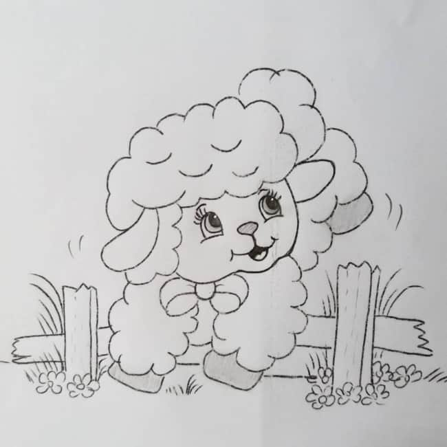risco de ovelhinha para pintura de tecido infantil