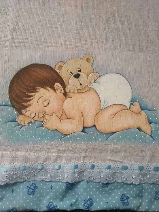 fralda com pintura de bebe dormindo
