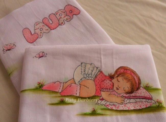 pintura fralda com bebe dormindo