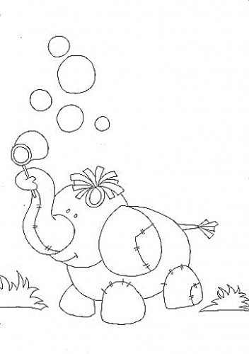 risco de elefante para pintura de tecido infantil