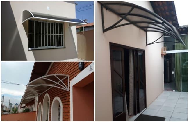 ideias para toldo de policarbonato para janelas e portas